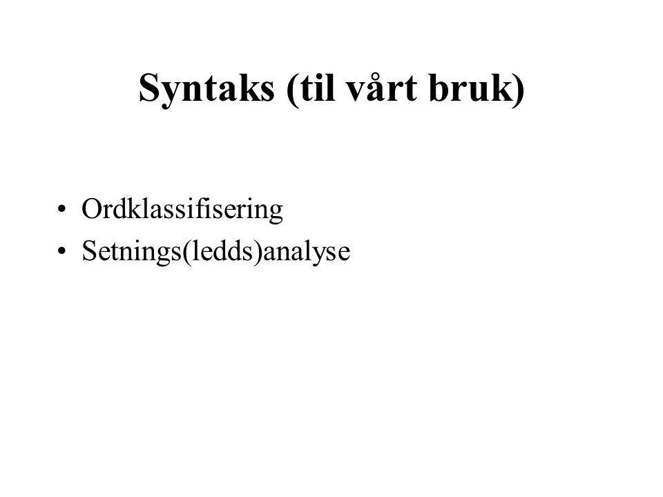 Syntaks (til vårt bruk)