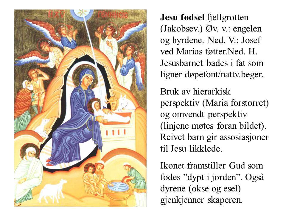 Jesu fødsel fjellgrotten (Jakobsev. ) Øv. v. : engelen og hyrdene. Ned