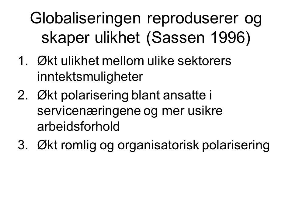 Globaliseringen reproduserer og skaper ulikhet (Sassen 1996)