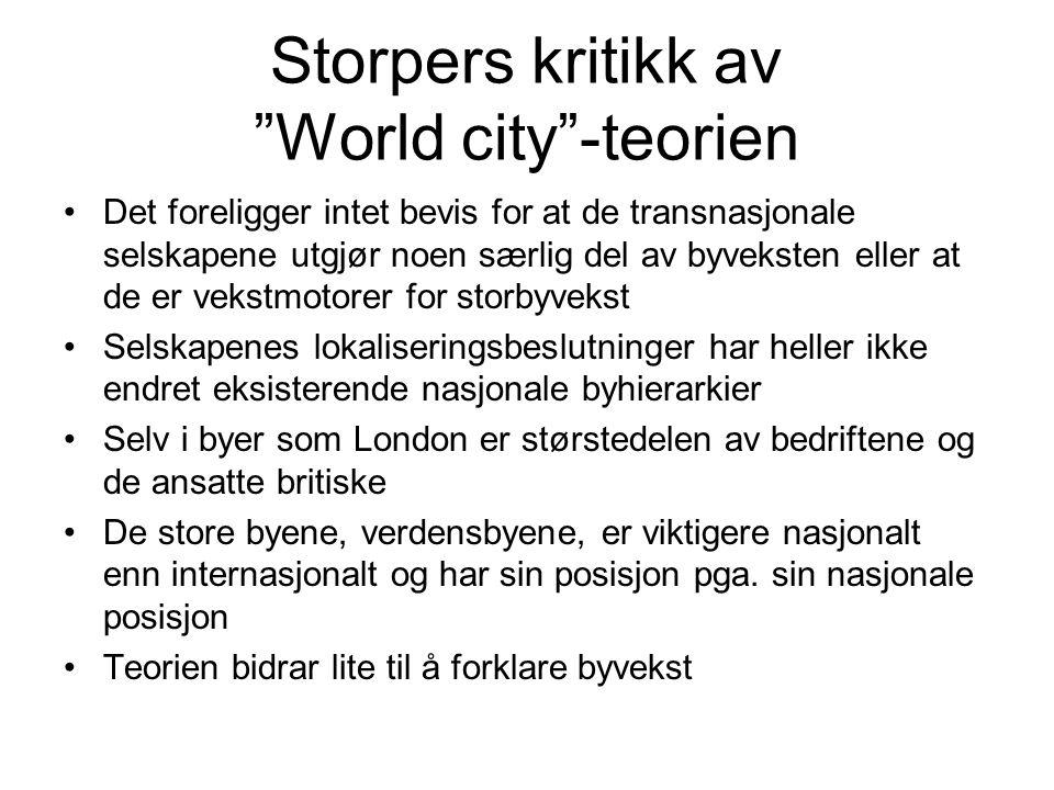 Storpers kritikk av World city -teorien