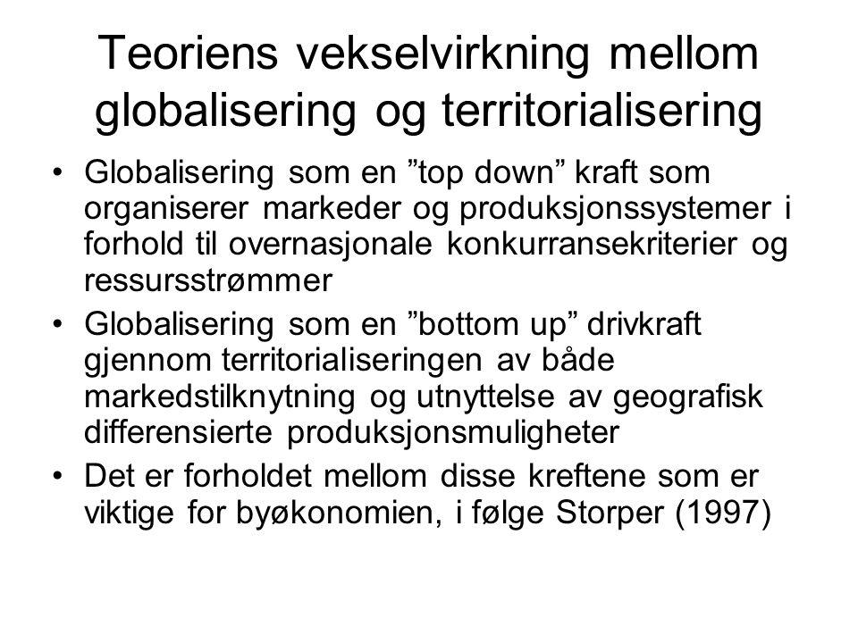 Teoriens vekselvirkning mellom globalisering og territorialisering