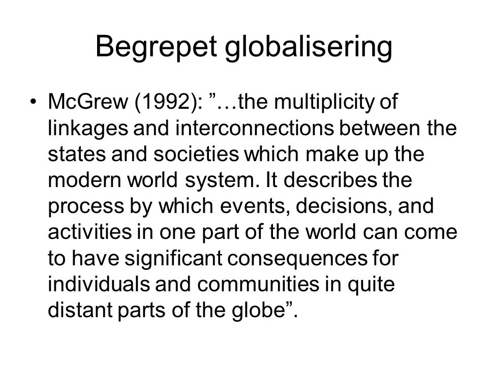 Begrepet globalisering