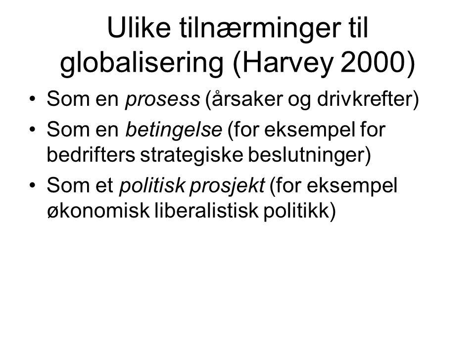 Ulike tilnærminger til globalisering (Harvey 2000)