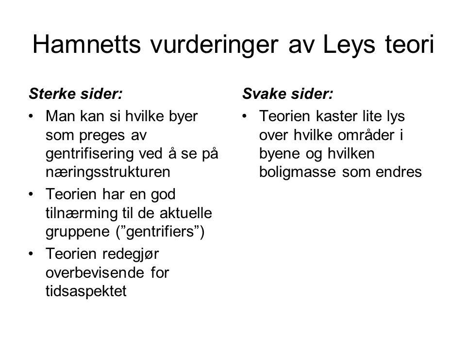 Hamnetts vurderinger av Leys teori