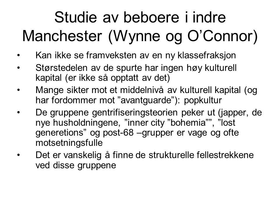 Studie av beboere i indre Manchester (Wynne og O'Connor)