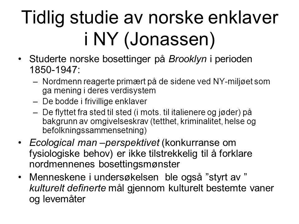 Tidlig studie av norske enklaver i NY (Jonassen)