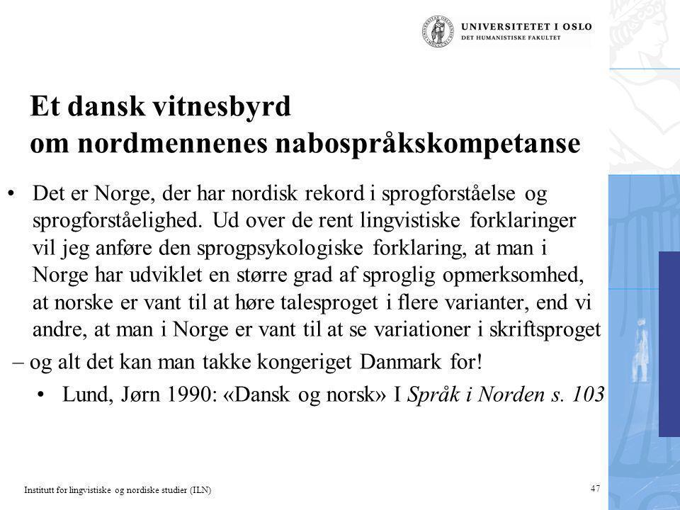 Et dansk vitnesbyrd om nordmennenes nabospråkskompetanse