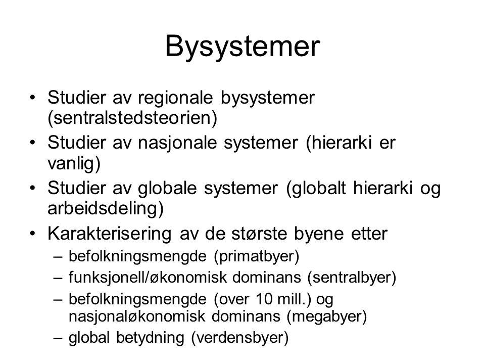 Bysystemer Studier av regionale bysystemer (sentralstedsteorien)