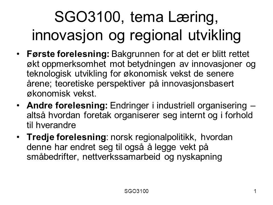 SGO3100, tema Læring, innovasjon og regional utvikling