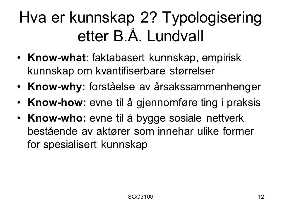 Hva er kunnskap 2 Typologisering etter B.Å. Lundvall