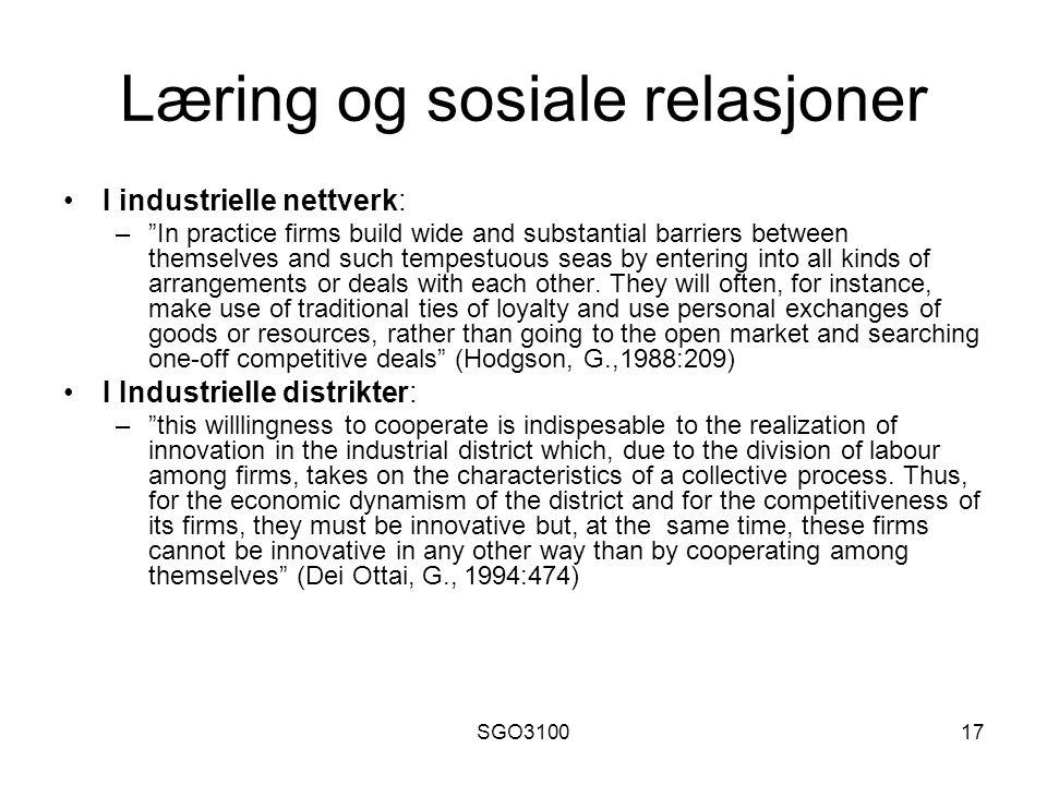 Læring og sosiale relasjoner
