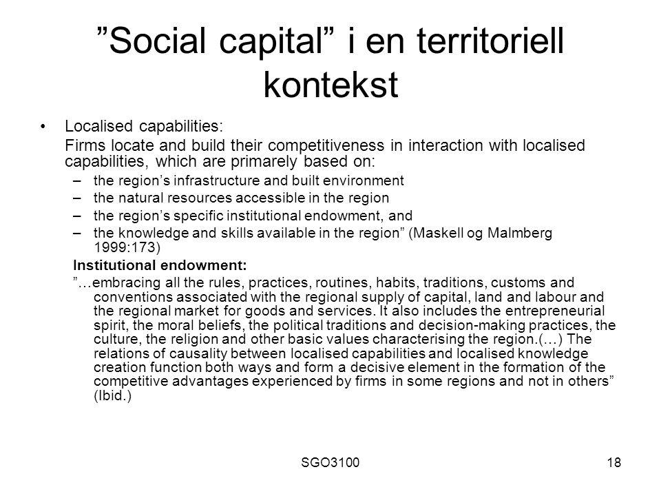Social capital i en territoriell kontekst