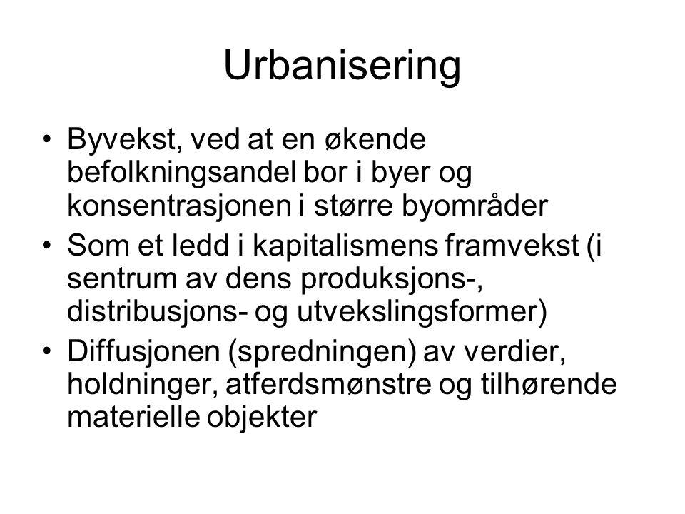 Urbanisering Byvekst, ved at en økende befolkningsandel bor i byer og konsentrasjonen i større byområder.