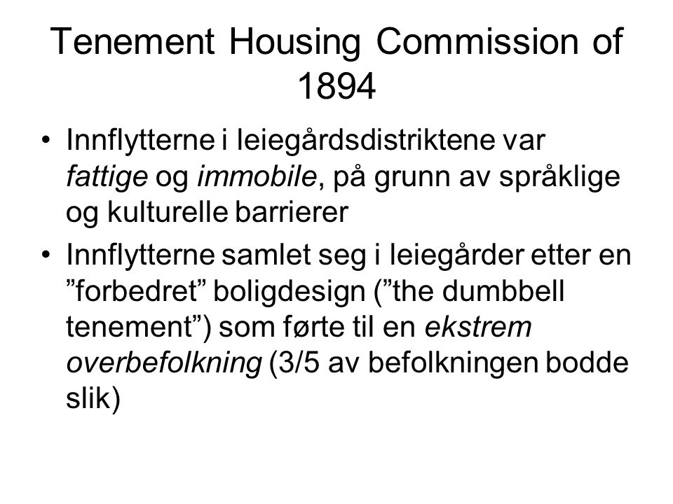 Tenement Housing Commission of 1894