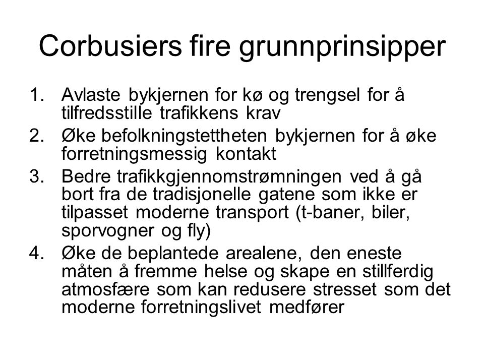 Corbusiers fire grunnprinsipper
