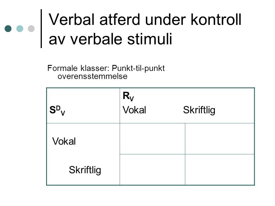 Verbal atferd under kontroll av verbale stimuli