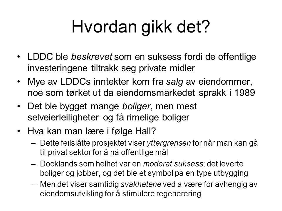Hvordan gikk det LDDC ble beskrevet som en suksess fordi de offentlige investeringene tiltrakk seg private midler.