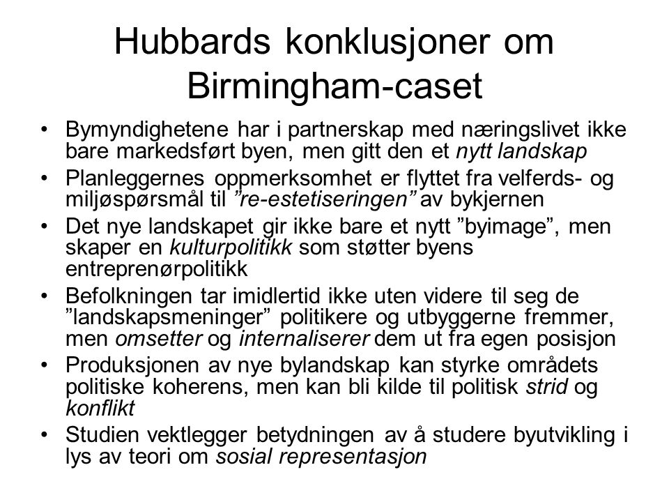 Hubbards konklusjoner om Birmingham-caset
