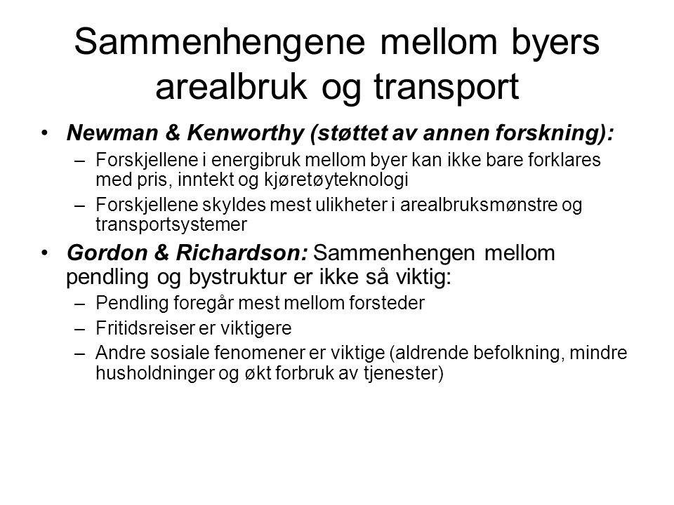 Sammenhengene mellom byers arealbruk og transport