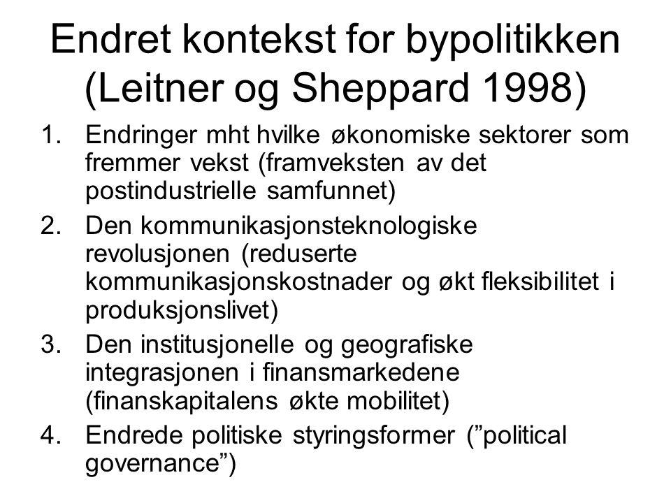 Endret kontekst for bypolitikken (Leitner og Sheppard 1998)