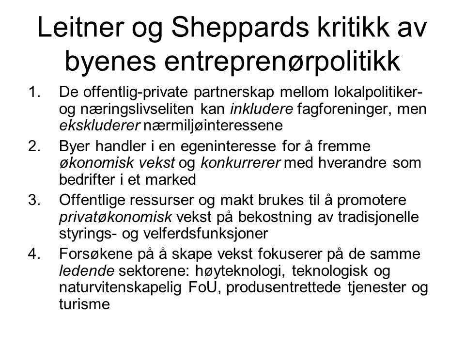 Leitner og Sheppards kritikk av byenes entreprenørpolitikk