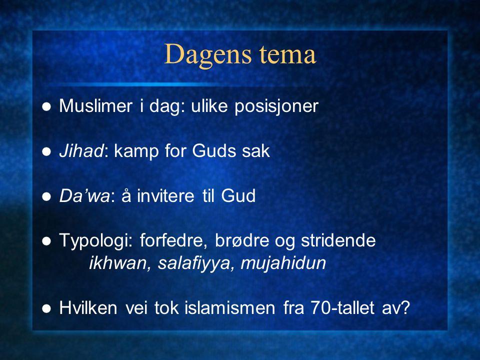 Dagens tema Muslimer i dag: ulike posisjoner Jihad: kamp for Guds sak