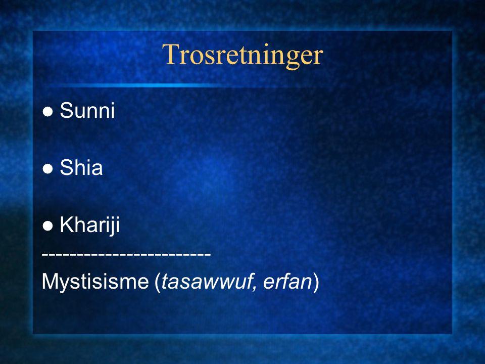 Trosretninger Sunni Shia Khariji ------------------------