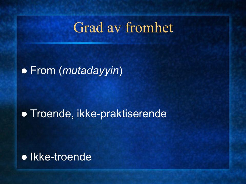 Grad av fromhet From (mutadayyin) Troende, ikke-praktiserende