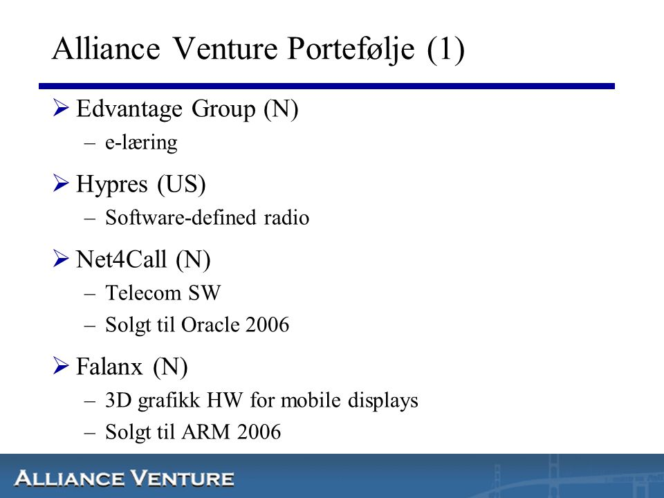 Alliance Venture Portefølje (1)