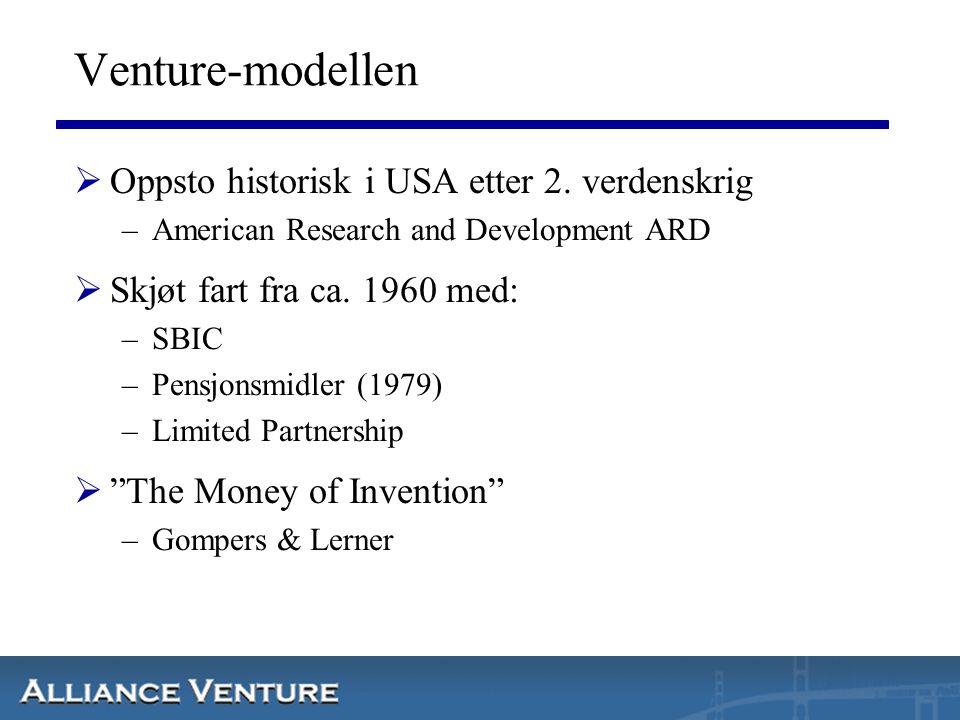 Venture-modellen Oppsto historisk i USA etter 2. verdenskrig