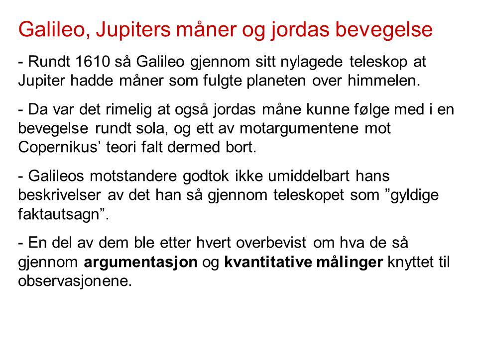 Galileo, Jupiters måner og jordas bevegelse