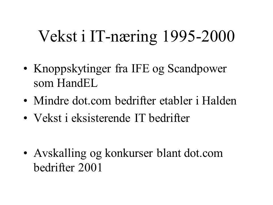 Vekst i IT-næring 1995-2000 Knoppskytinger fra IFE og Scandpower som HandEL. Mindre dot.com bedrifter etabler i Halden.
