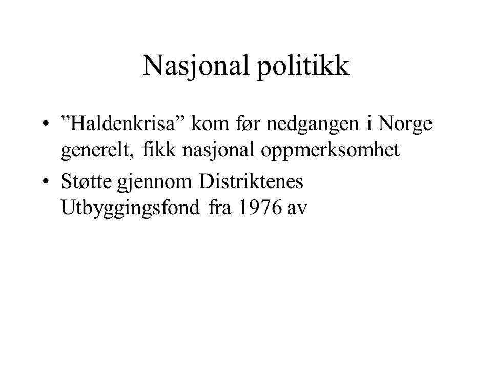 Nasjonal politikk Haldenkrisa kom før nedgangen i Norge generelt, fikk nasjonal oppmerksomhet.
