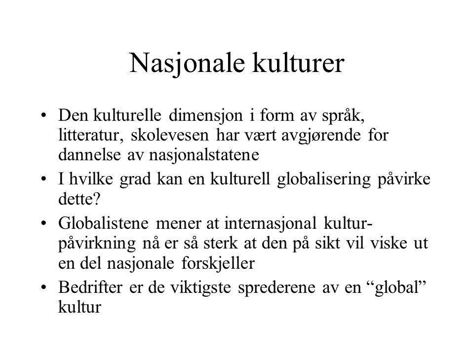 Nasjonale kulturer Den kulturelle dimensjon i form av språk, litteratur, skolevesen har vært avgjørende for dannelse av nasjonalstatene.