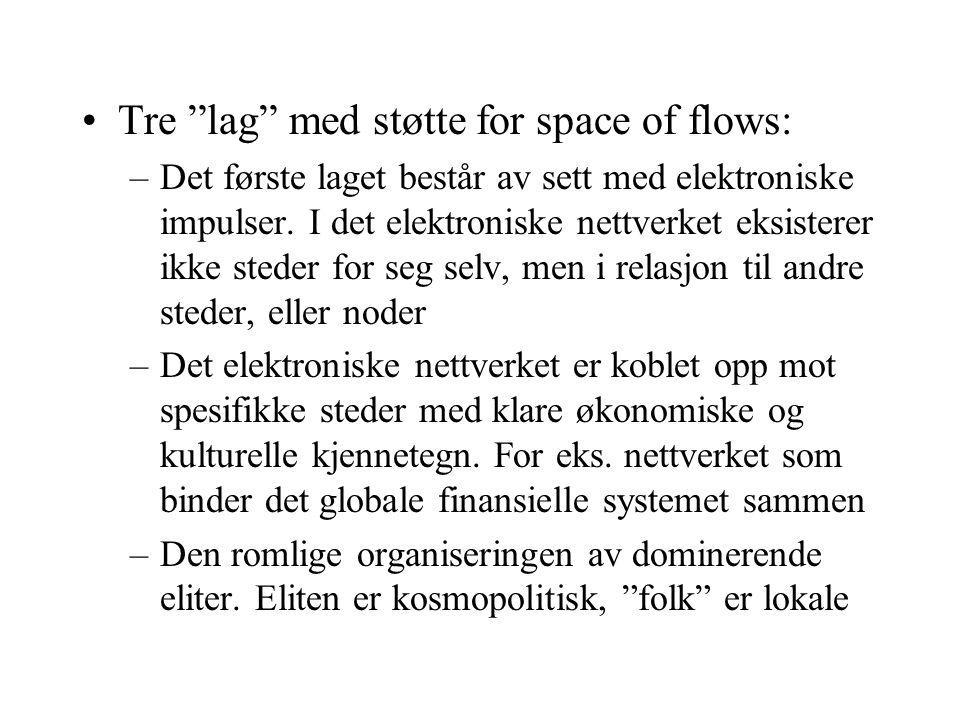 Tre lag med støtte for space of flows:
