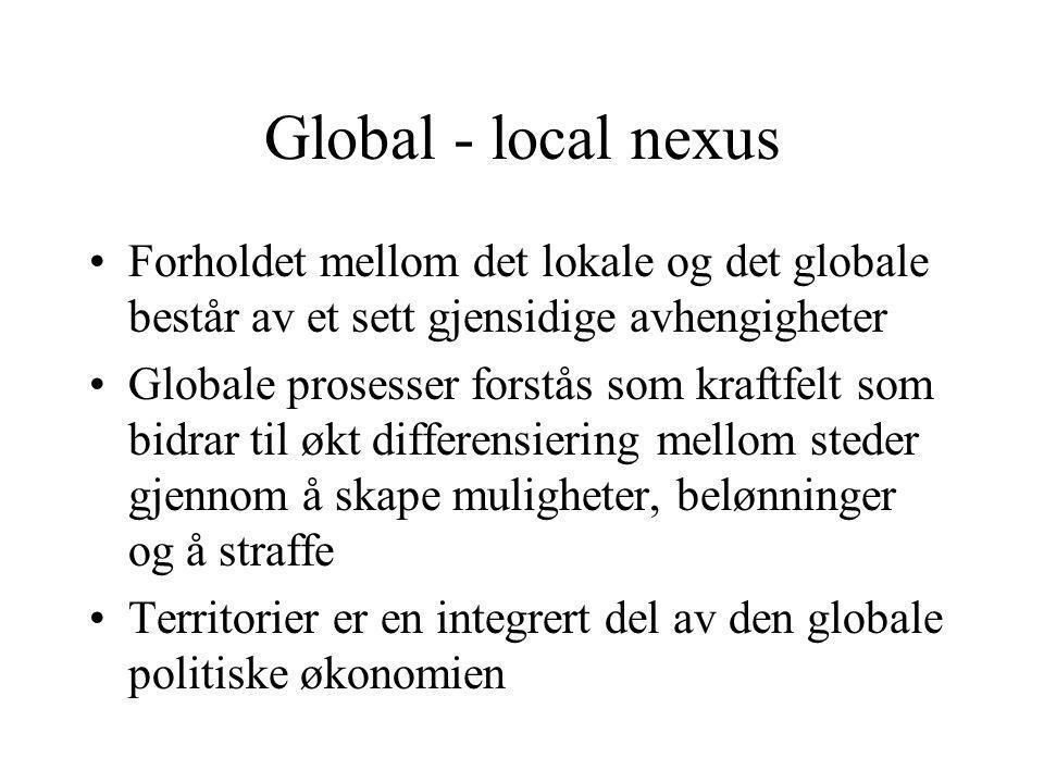 Global - local nexus Forholdet mellom det lokale og det globale består av et sett gjensidige avhengigheter.