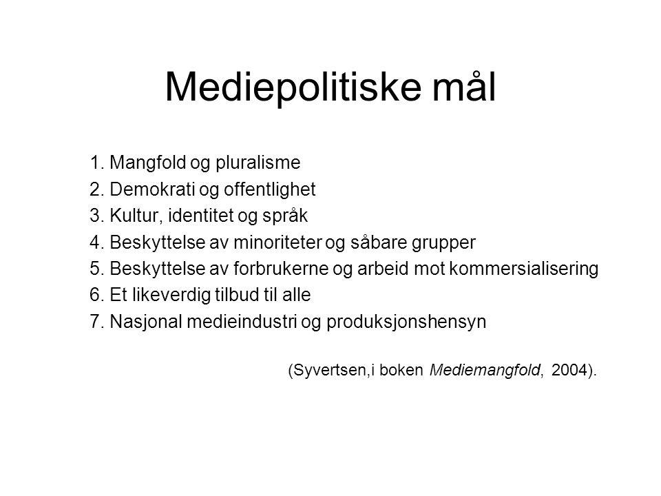 Mediepolitiske mål 1. Mangfold og pluralisme