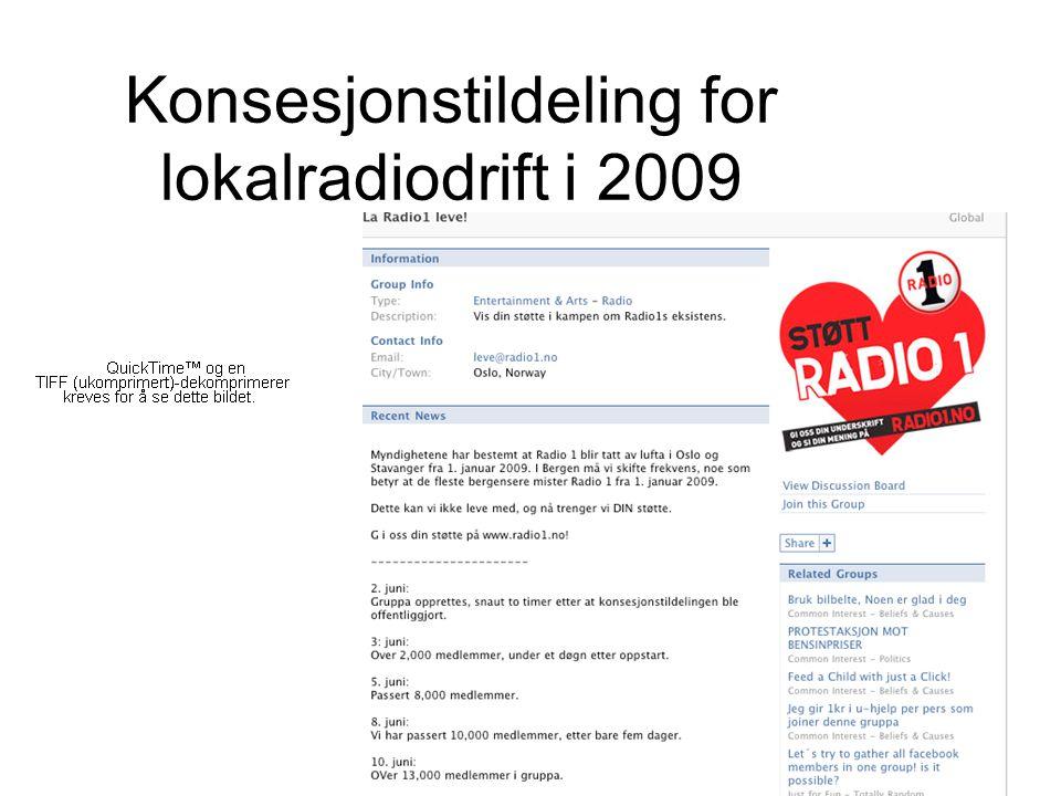 Konsesjonstildeling for lokalradiodrift i 2009