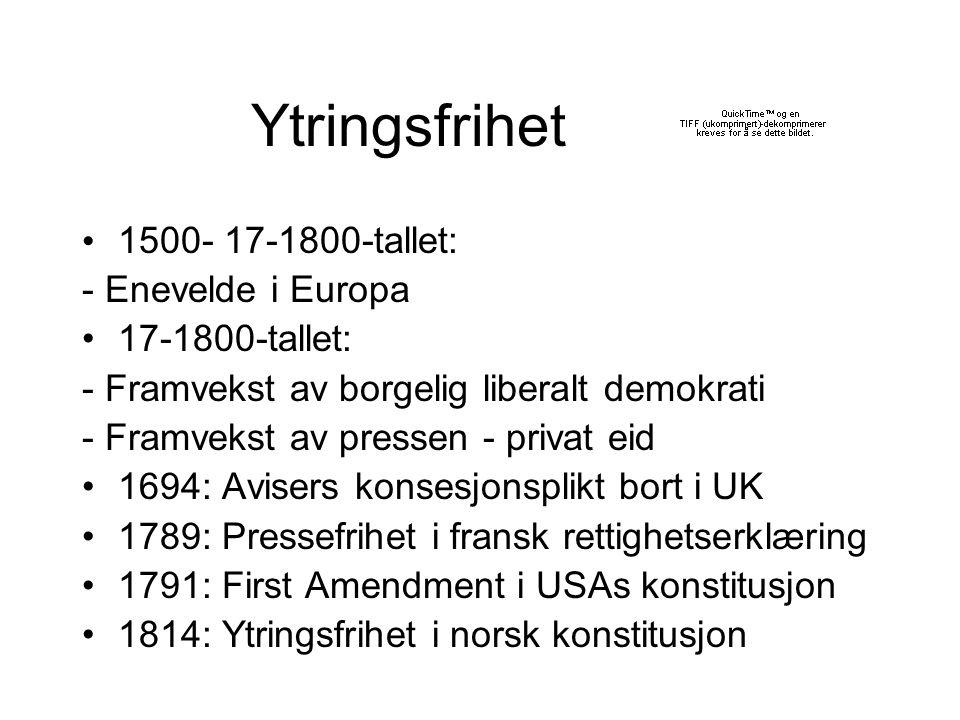 Ytringsfrihet 1500- 17-1800-tallet: - Enevelde i Europa
