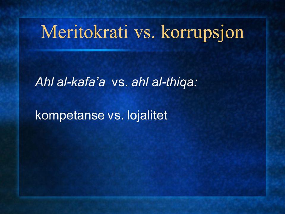 Meritokrati vs. korrupsjon