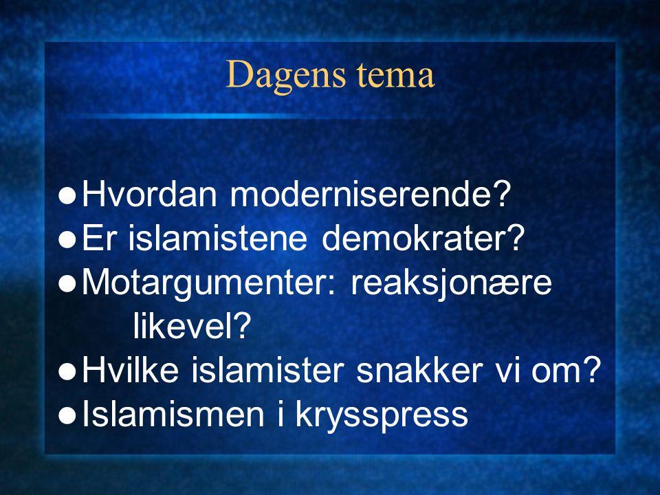 Dagens tema Hvordan moderniserende Er islamistene demokrater