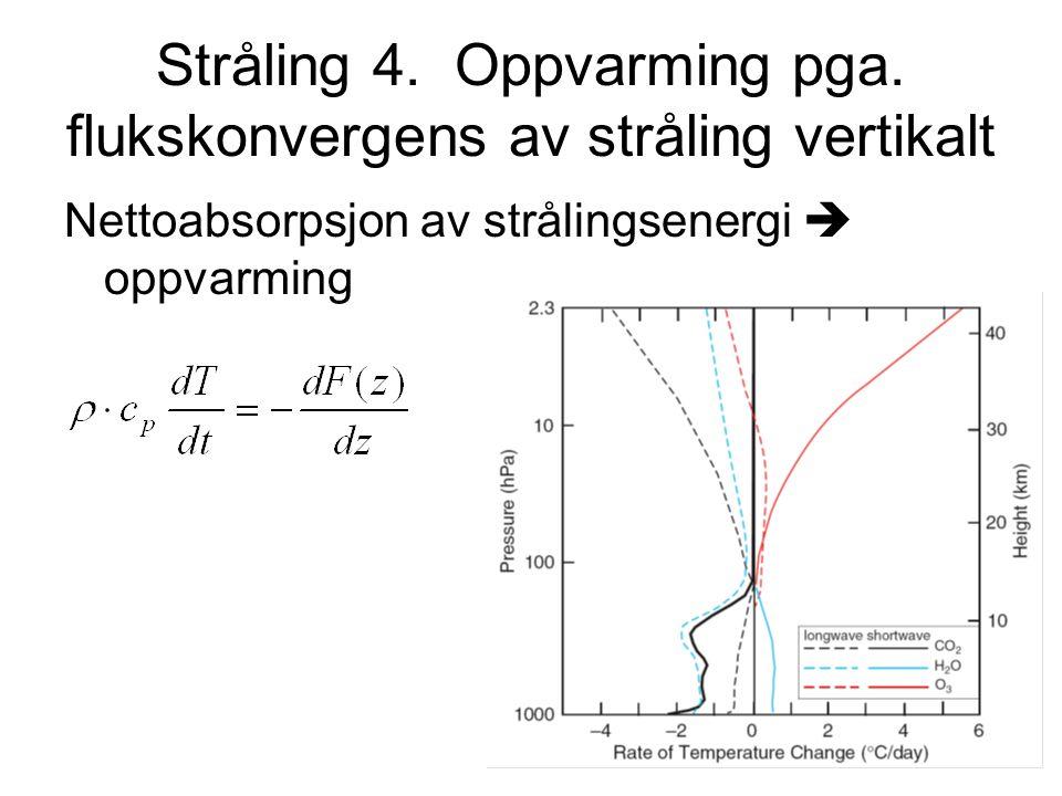 Stråling 4. Oppvarming pga. flukskonvergens av stråling vertikalt
