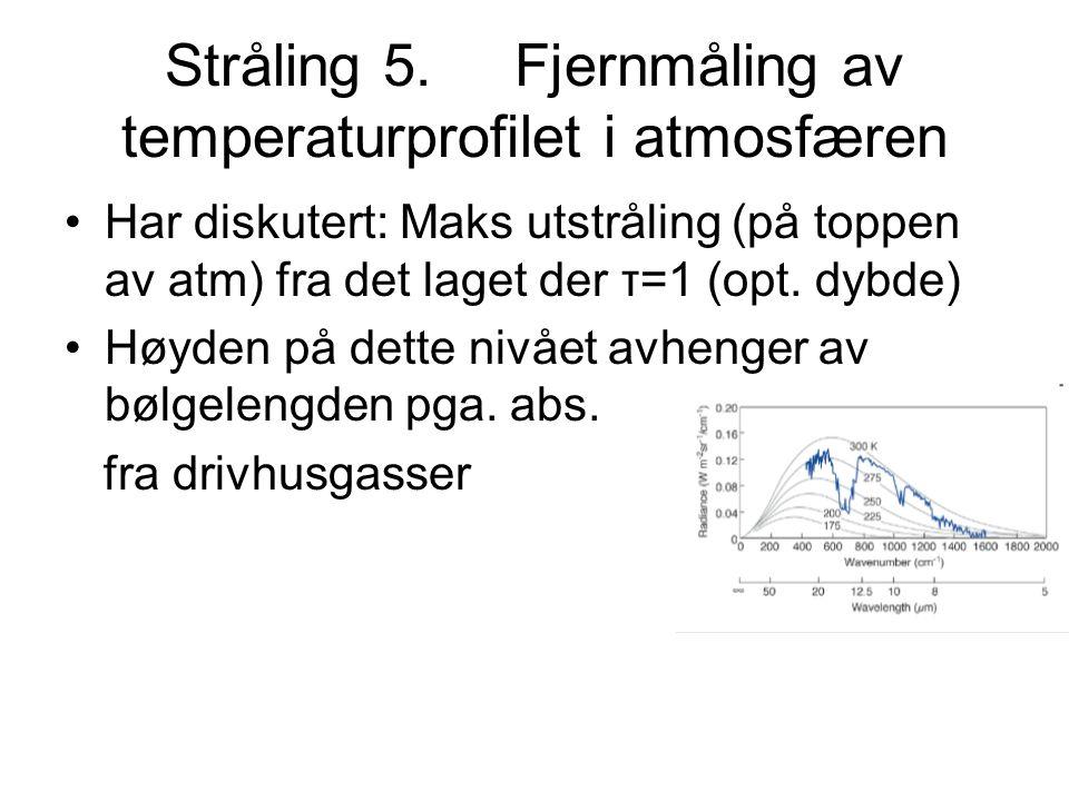 Stråling 5. Fjernmåling av temperaturprofilet i atmosfæren