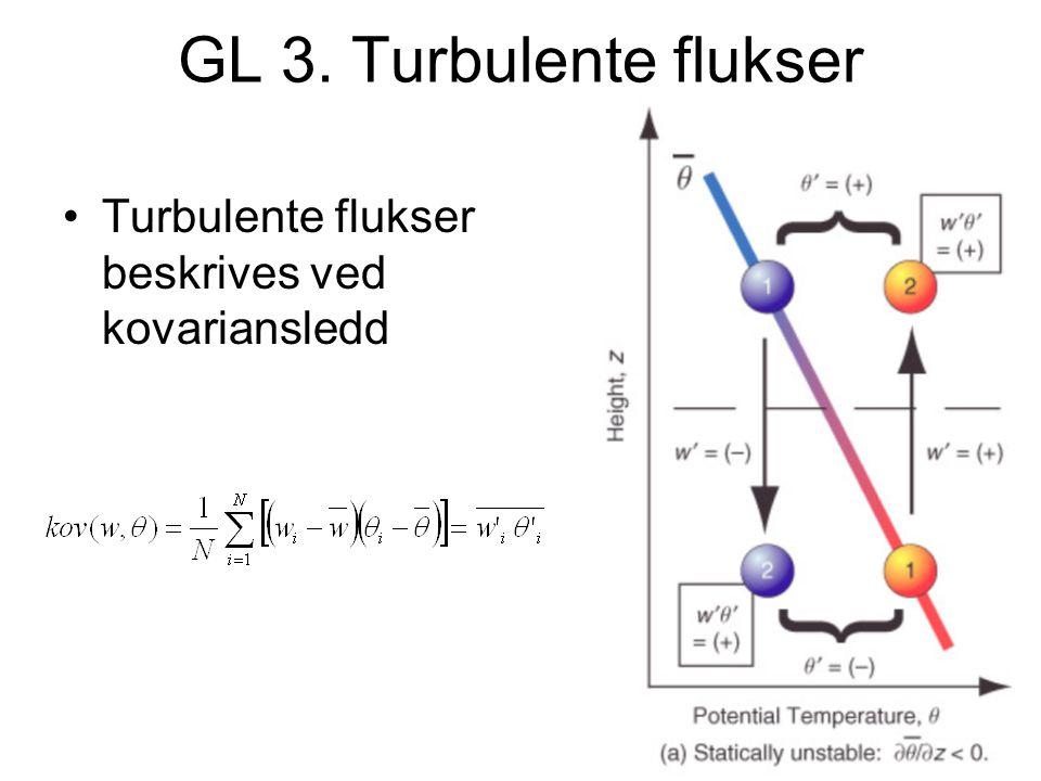 GL 3. Turbulente flukser Turbulente flukser beskrives ved kovariansledd