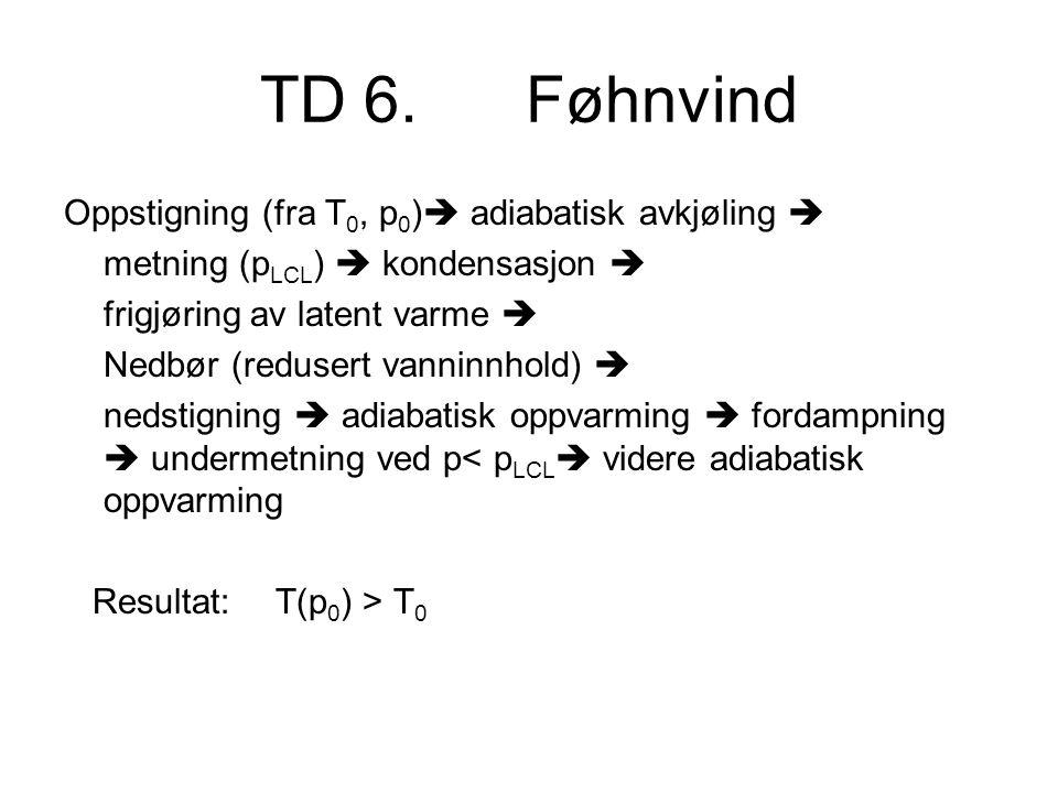 TD 6. Føhnvind Oppstigning (fra T0, p0) adiabatisk avkjøling 