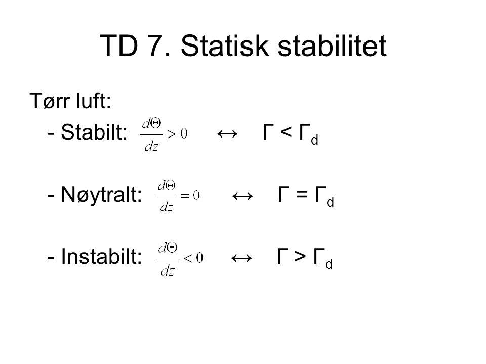 TD 7. Statisk stabilitet Tørr luft: - Stabilt: ↔ Γ < Γd