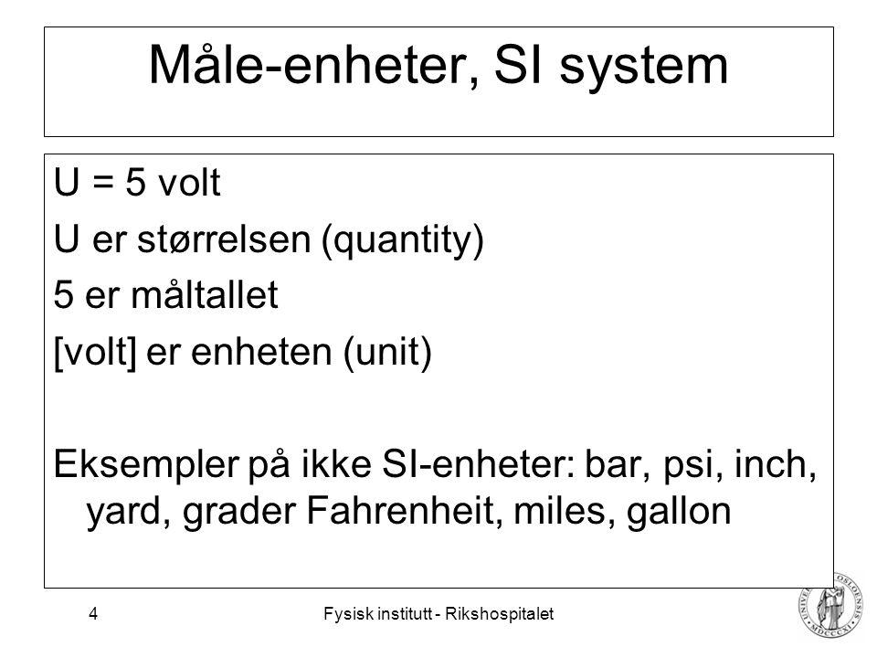 Måle-enheter, SI system