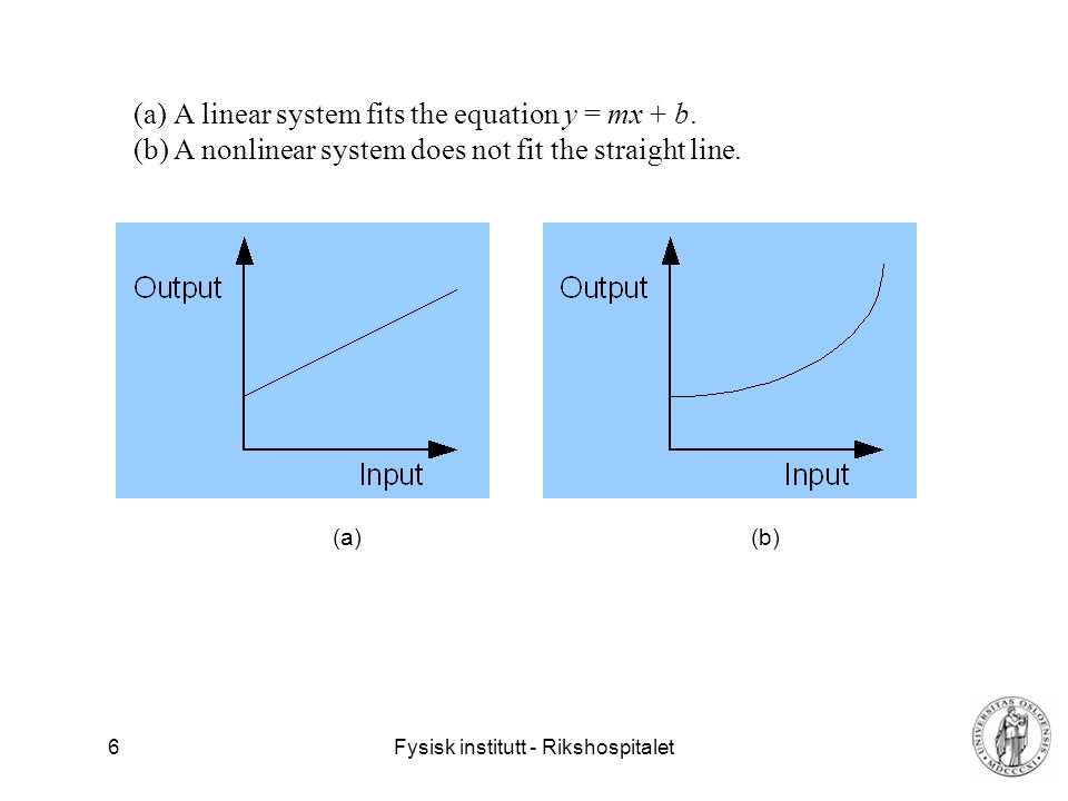 A linear system fits the equation y = mx + b.