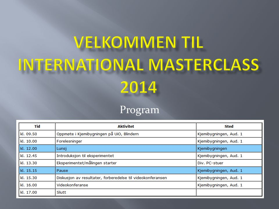 Velkommen til international Masterclass 2014