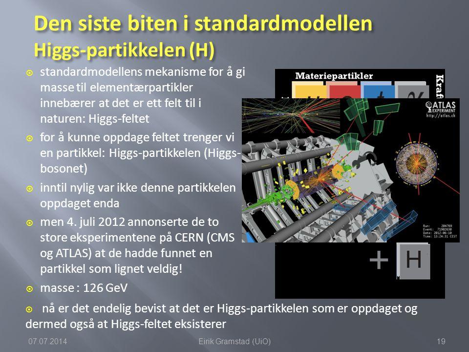 Den siste biten i standardmodellen Higgs-partikkelen (H)